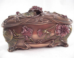 Art Nouveau Poppy Box Large Flower Figure Jewelry Trinket Display Bronze-Look