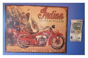 Targa-vintage-034-Indian-motocycles-model-101-034-motocicletta-metallo-cm-33x25