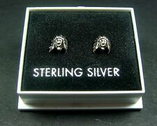 STERLING SILVER 925, STUD EARRINGS, INDIAN CHIEF DESIGN BUTTERFLY BACKS STUD 61