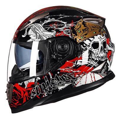 Skull Decal Helmet Dual Visor Full Face Motorcycle Helmets For Street Riding