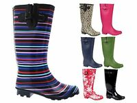 Ladies Wide Calf Knee Length Wellington Rain Snow Boots Wellies Shoes Size 3 - 8