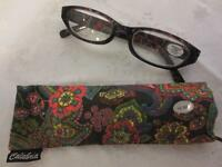 Calabria Womens Black Multicolor Floral Reader Reading Glasses +2.50