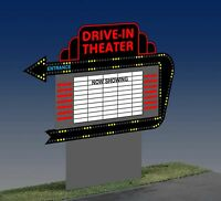 Drive In Theater Animated Neon Sign O/ho Scale Millers Engineering 1381
