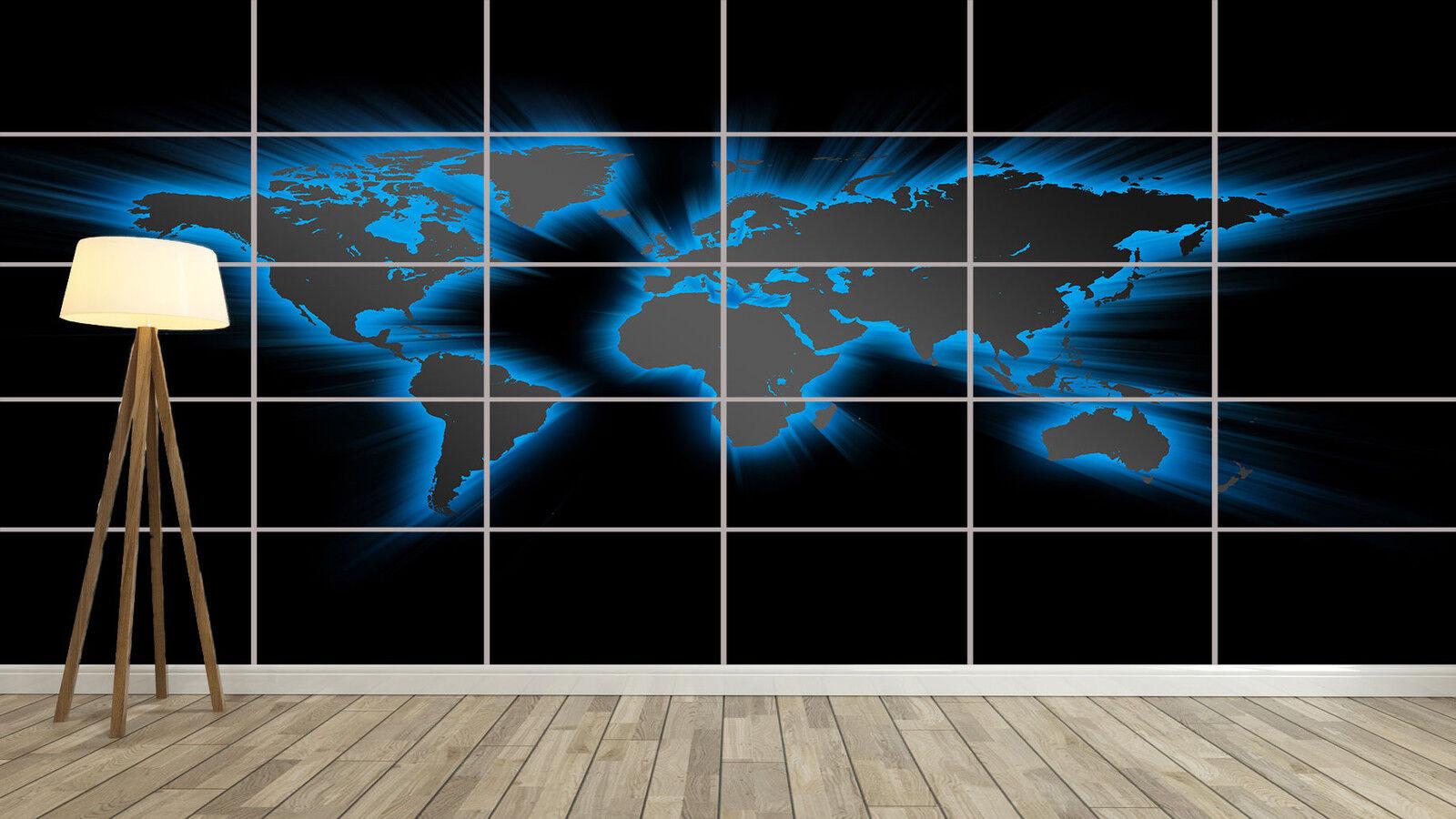 World Map blu Design Huge XXL Poster Home Deco Salon 252cmX150 Large print