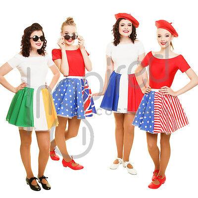 """Ladies England Denmark Switzerland Flag 15/"""" Skater Panel Skirt Fancy Dress"""