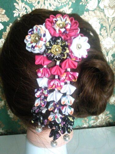 Kanzashi BlumenTsumami Haarklammer Satinblume Perlen Kopfschmuck Satin Kanzashi*