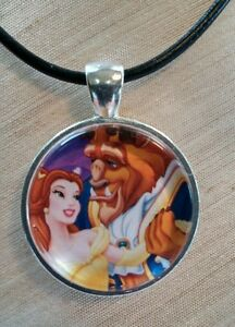 Disney-039-s-034-BEAUTY-AND-THE-BEAST-034-Glass-Pendant-with-Leather-Necklace