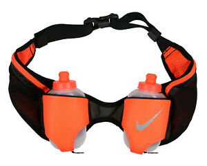 NIKE-Double-Flask-Hydration-Running-Belt-Black-10-oz-Bottles-Marathon-Waistpack