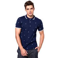 Newyork Army 100% Cotton Stripe Collar Sailboat Print Men's Polo Shirt /NavyBlue