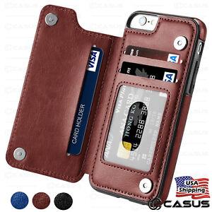 Portefeuille-en-cuir-dos-magnetique-flip-cover-Thin-Slim-Case-pour-iPhone-X-amp-8-7-6-plus