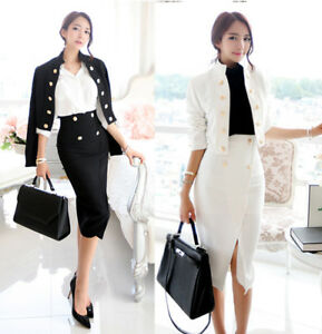 spring-womens-fashion-temperament-stand-collar-jacket-high-waist-skirts-suit-A19