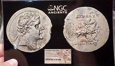 EUKRATIDES I - NGC AU Silver Tetradrachm RARE R1 Indo Greek Baktria Coin i57701