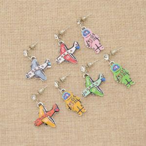 Cute-Alternative-Cartoon-Plane-Astronaut-Ear-Stud-Earrings-Women-Jewelry-Gift