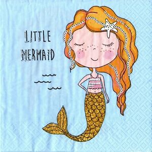 Serviettes En Papier Petite Sirene Mer Ocean. Paper Napkins Little Mermaid Sea