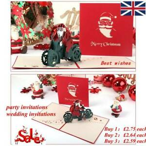 1Pc-3D-Up-Christmas-Cards-Blessing-Gift-Santa-Claus-Riding-Cards-Motorcycle-S9G9