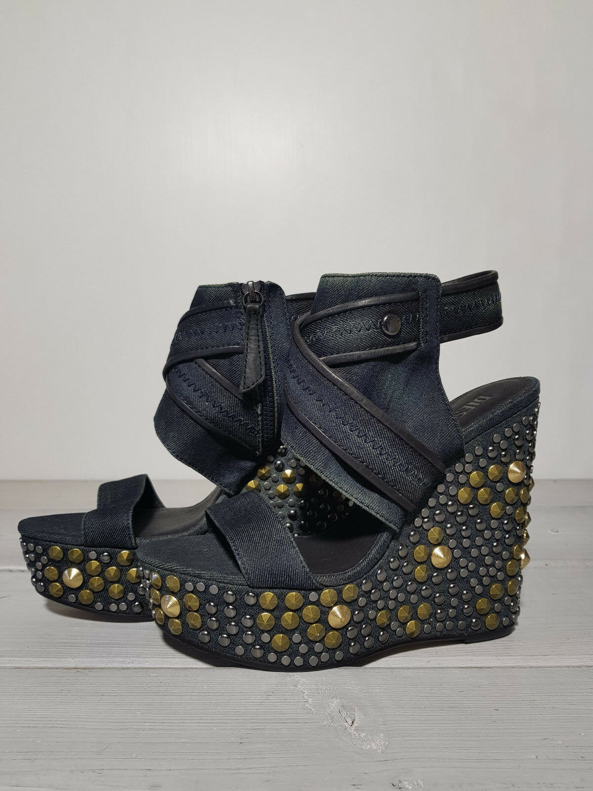 295 NEW DIESEL DIESEL DIESEL WOMEN'S SHOES LUXYSHINE KLOEY T6067 DENIM WEDGE SANDAL DENIM 3d5c7d