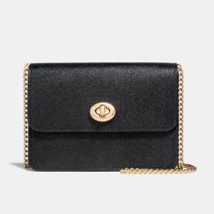 NWT-Coach-Bowery-Black-Gold-Chain-Crossbody-Leather-Turnlock-Shoulder-Bag-F31387