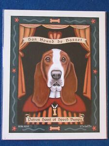 Retro-Pets-Dog-Art-Print-10-034-x8-034-Krista-Brooks-Basset-Hound