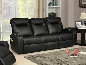 Image Is Loading New Luxury Cinema Hollywood 3 Seater Bonded Leather