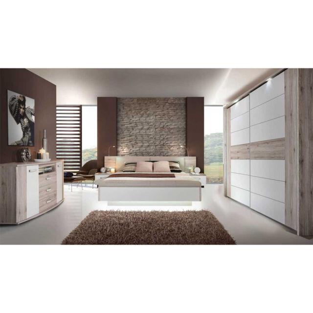 Forte RONDINO 3 Komplettset Schlafzimmer - Sandeiche Weiß