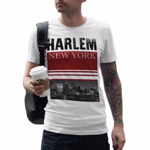 Harlem New York Mens T Shirt America State Fashion Street Swag Dope Tee Gift 691