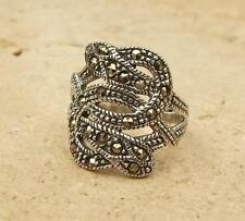 925 Sterling Silver Marcasite Snake Design Ring UK Size R-US Size 8 3/4