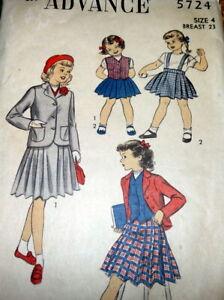 Three Quarter Jacket w Trim /& Weskit Waistcoat Vest 50/'s Fashion Vintage Sewing Pattern Advance 5976 Girl/'s Jacket