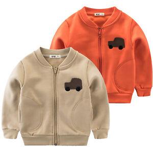 Unisex-Kids-Boys-Girls-Zip-Cotton-Long-Sleeve-Jacket-Hoodie-Sweatshirt-Car-Coat