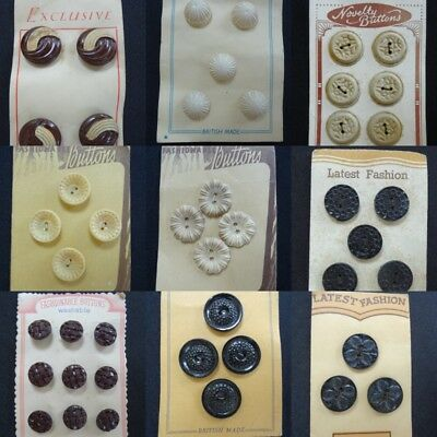 Vintage Buttons 1930s on Original Display Card Early Plastic Brown Cream Round