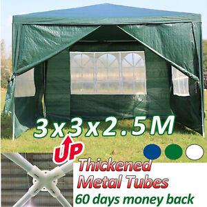Details About 3m X Party Tent Marquee Gazebo 4 Sides 130g Pe Waterproof Zip Door Windows