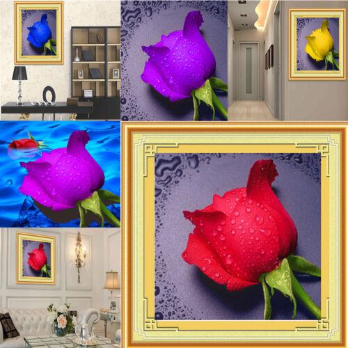 Cute Fine DIY Kit Art Home Decor 5D Dripping Rose Diamond Rhinestone Painting