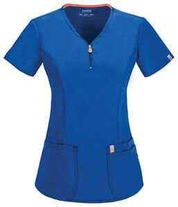 Scrubs Code Happy V-Neck Top 46600A RYCH Royal Antimicrobial Free Shipping