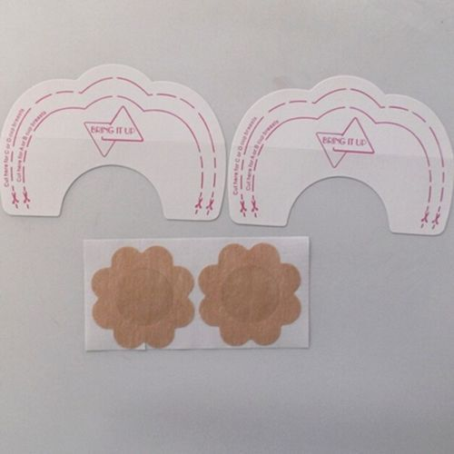NIPPLE PAD INVISIBLE CLEAR PUSH UP STICK ON BRA BOOB 5 PERS BREAST LIFT TAPE