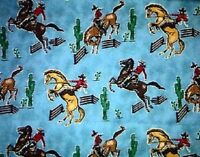 In the Ranch Rodeo Cowboy Horse Cotton Quilt Fabric FQ Fat Quarter
