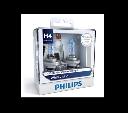 H4 Philips WhiteVision 4300K Headlight Globes