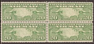 US Stamp - 1927 20c Mail Planes and US Map - Block of 4 Stamps VF MNH #C9