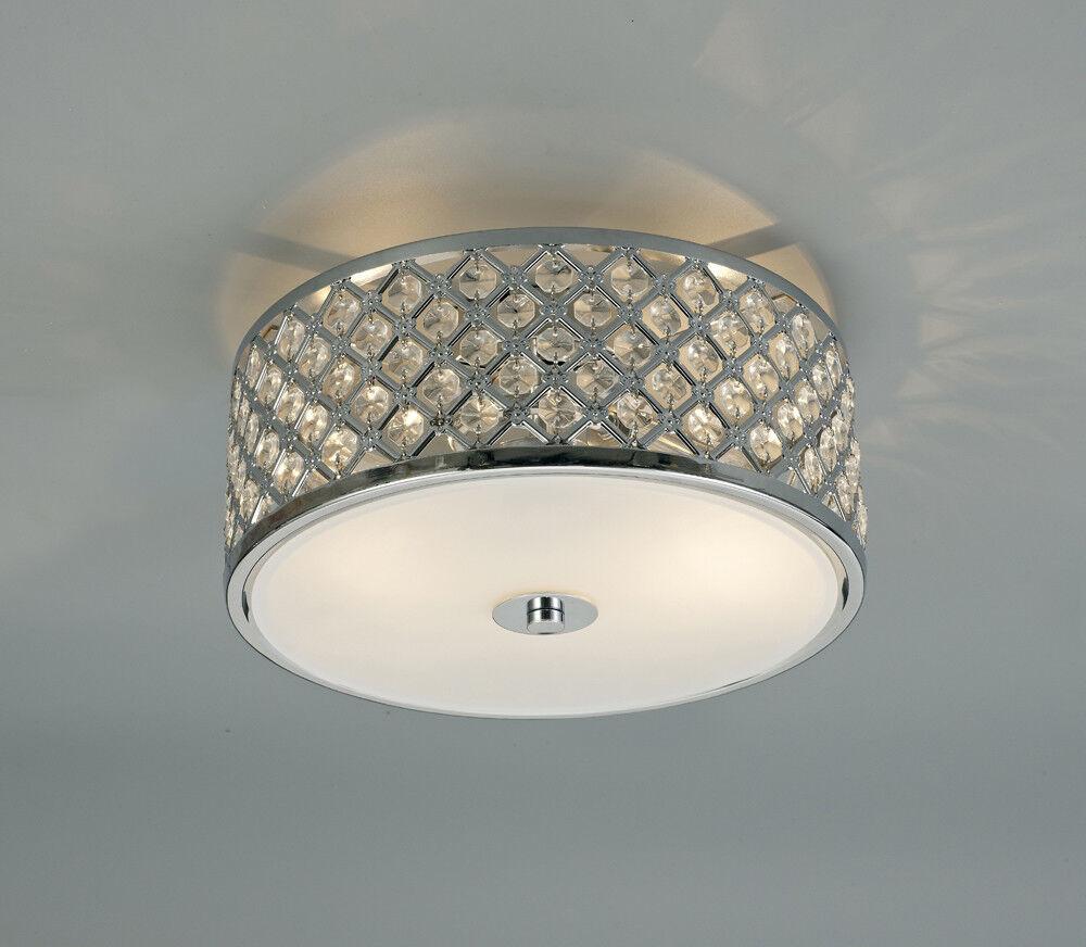 SUPERBE & Encastré Chrome Plafonnier 2 lampes avec verre CRISTAL & SUPERBE Opale DEL d08833