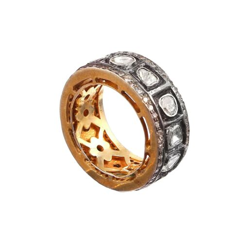 Antique Jewellery Natural Rose Cut Polki Diamond Victorian Style 925 Silver Ring