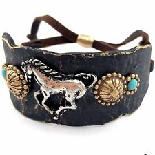 WESTERN GOLD SILVER HAMMERED PLATE HORSES COPPER LEATHER CUFF PATINA BRACELET