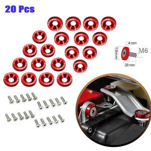 8 PC RED BILLET ALUMINUM FENDER//BUMPER WASHER//BOLT ENGINE BAY DRESS UP KIT