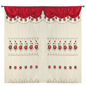Burgundy Room Decor Embroidery Sheer Valence Window Curtain Drapes 60x90+18""