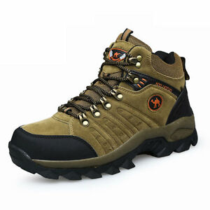 Men-039-s-lightweight-leather-waterproof-mid-cut-top-comfortable-hiking-boots-shoes
