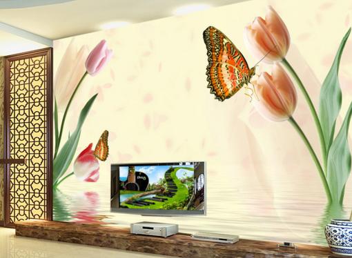 3D Butterfly Tulips 85 Wall Paper Murals Wall Print Wall Wallpaper Mural AU Kyra