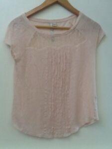 LC-Lauren-Conrad-Womens-Sz-XS-Pale-Pink-Cap-Sleeve-Shirt-Top-Blouse-Linen-Lace