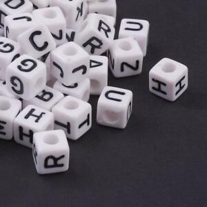10mm 50 Assorted Coloured Wooden Cube Alphabet Beads Ideal for Jewellery,