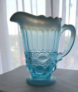 Mosser-Glass-Aqua-Opalescent-Eye-Winker-Pitcher