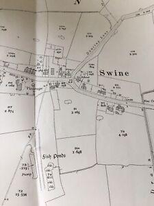 1928 Antique Vintage Map Plan SWINE BRANSHOLME SUTTON HULL LNER HORNSEA
