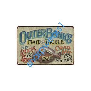 Metal Tin Sign bait and tackle  Decor Pub Bar Home Vintage Retro Poster