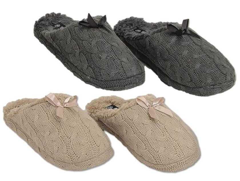 Ladies Grey Or Beige Cable Knit Slippers Plush Fur Lined Mule Slippers Knit In UK Sizes 3-7 a1c5d4