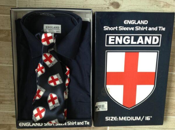 Nuovo, Inscatolato, Inghilterra, Da Uomo Manica Corta Blu Navy Camicia E Cravatta, Taglia 16, Media Rinfresco